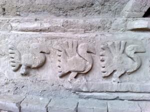 Wanddarstellung eines Pelikans in Chan Chan